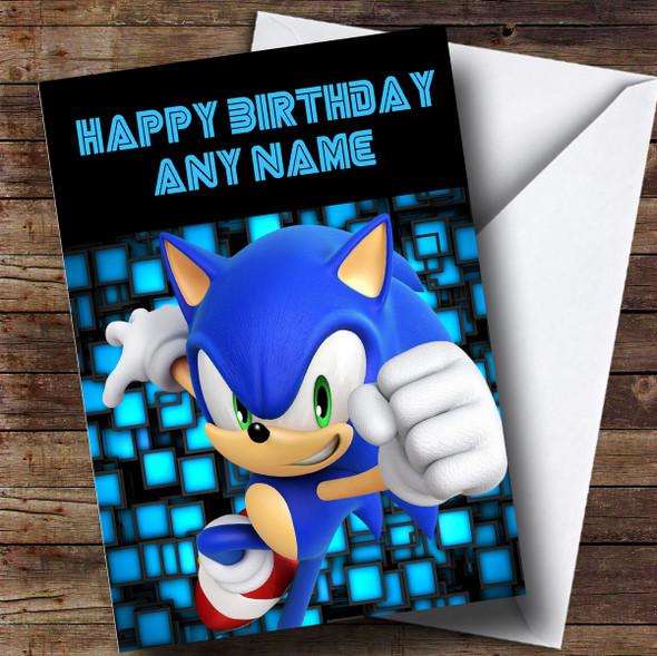 Personalised Black Sonic The Hedgehog Children's Birthday Card