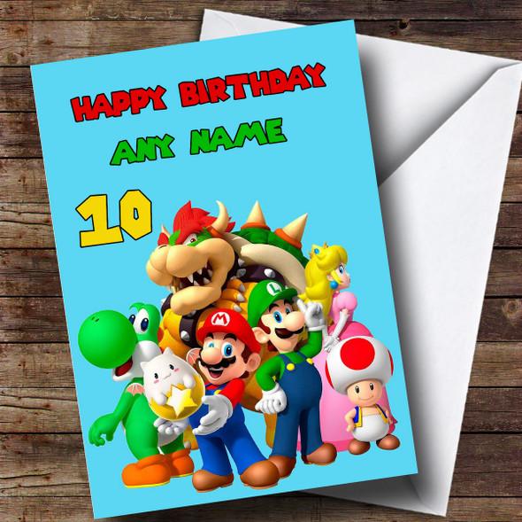 Personalised Pale Blue Super Mario Children's Birthday Card