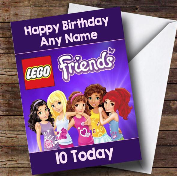 Personalised Purple Lego Friends Children's Birthday Card