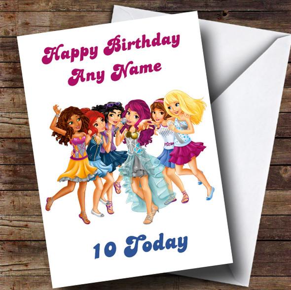 Personalised White Lego Friends Children's Birthday Card