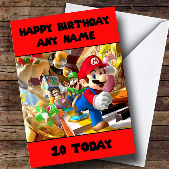 Personalised Red Super Mario Children's Birthday Card