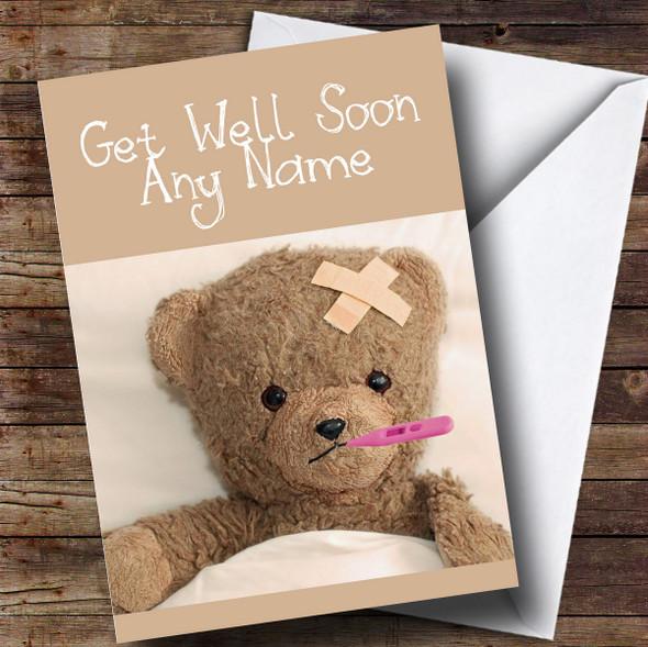 Personalised Poorly Teddy Bear In Bed Get Well Soon Card