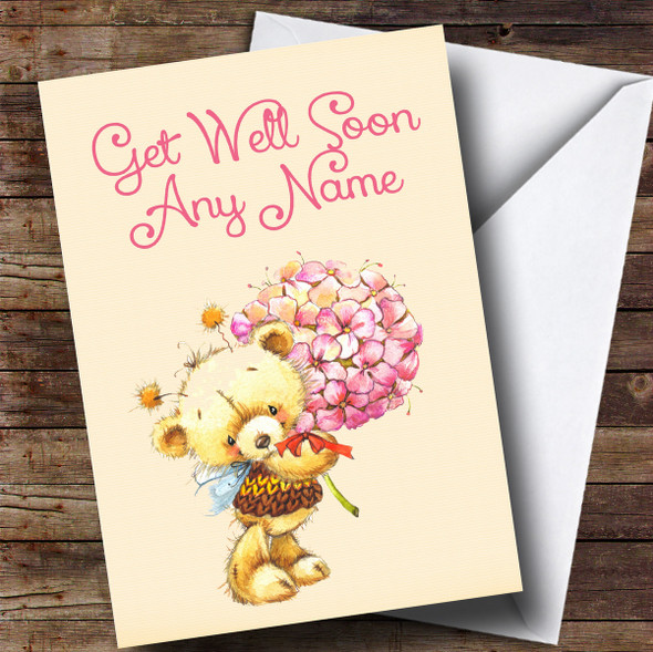 Personalised Bear With Flowers Get Well Soon Card