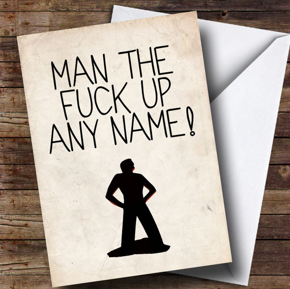 Personalised Funny Man Up Get Well Soon Card