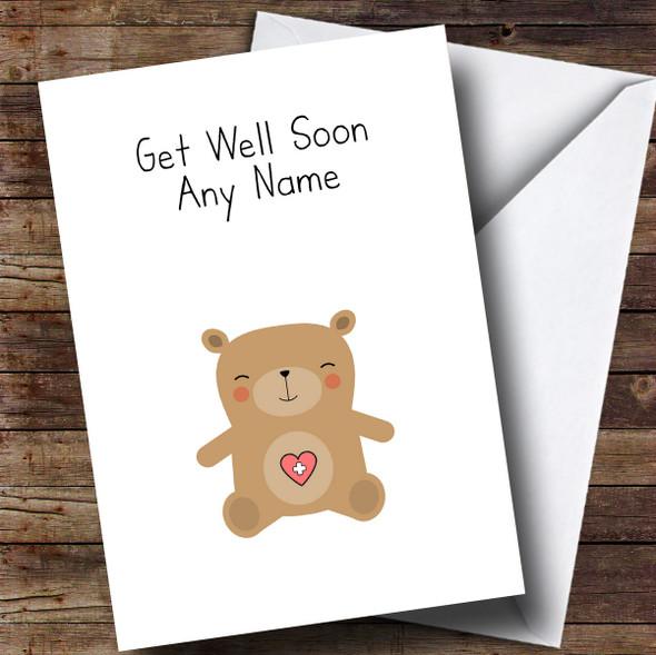 Personalised Teddy Bear Get Well Soon Card