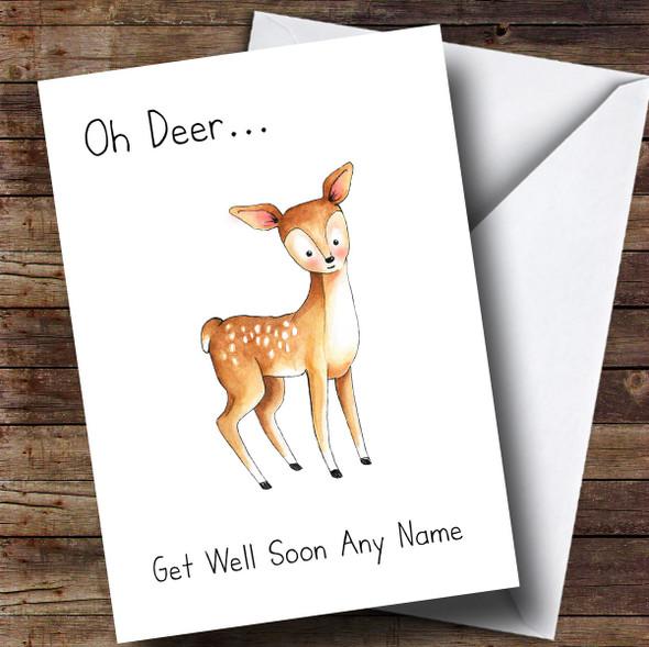 Personalised Oh Deer Get Well Soon Card