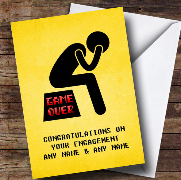 Personalised Funny Game Over Depressed Man Engagement Card