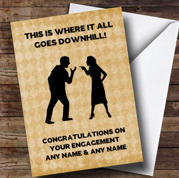 Personalised Funny Downhill From Here Engagement Card