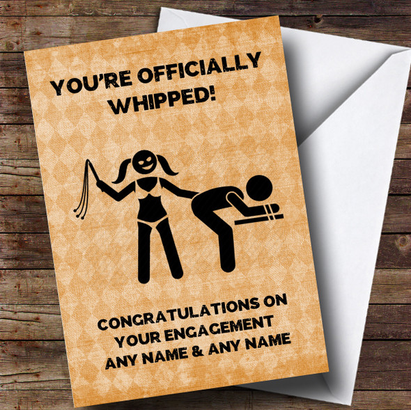 Personalised Funny Officially Whipped Engagement Card