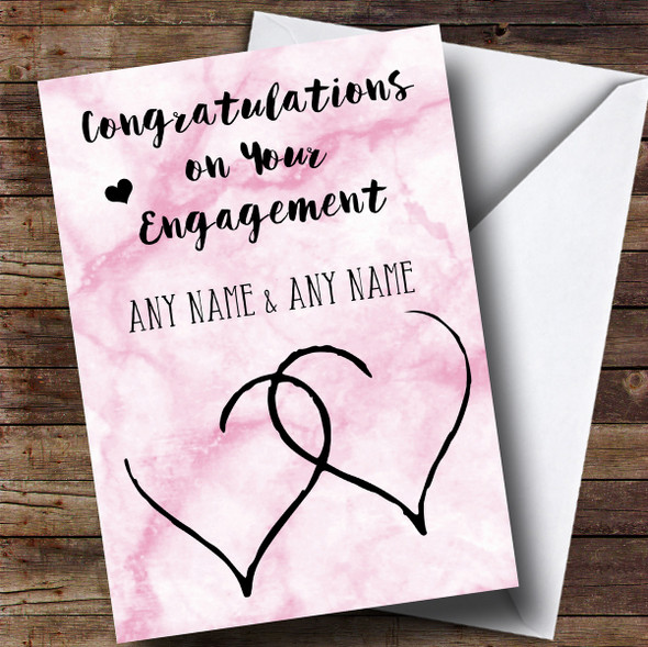 Personalised Pink Marble Two Hearts Engagement Card