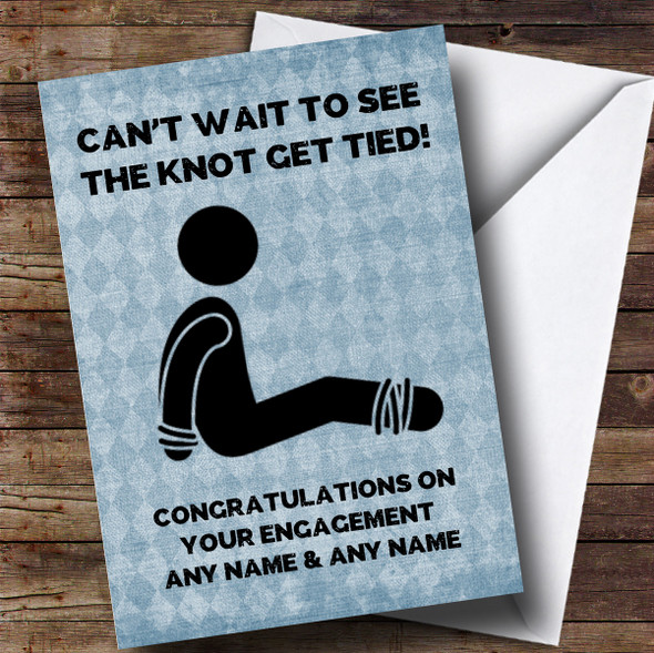 Personalised Funny Man Tied Up Engagement Card