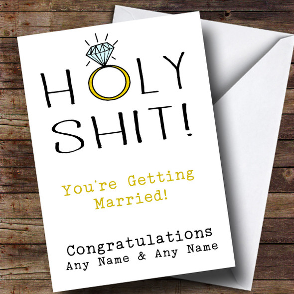 Personalised Funny Holy Shock Engagement Card