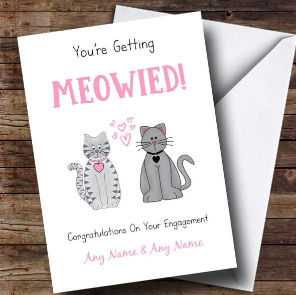 Personalised Funny Cute Cats Engagement Card
