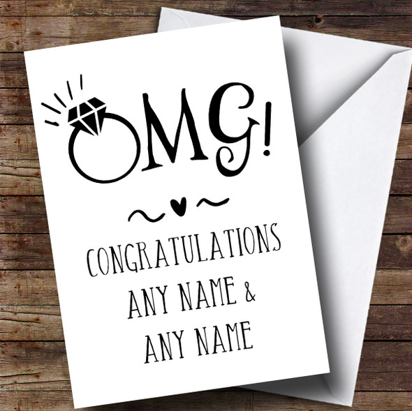 Personalised Funny Omg Engagement Card