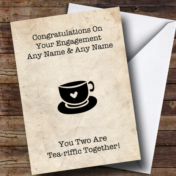 Personalised Funny Tea Engagement Card
