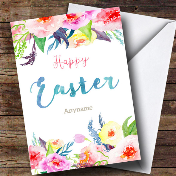 Personalised Floral Border Watercolour Easter Card
