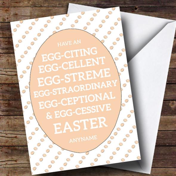 Personalised Funny Egg Words Orange Easter Card