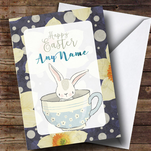 Personalised Bunny In A Cup Blue Easter Card