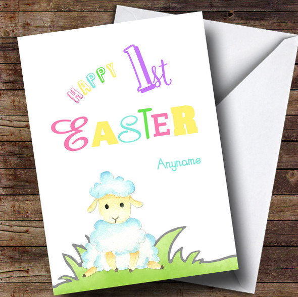Personalised Colourful Text Lamb Easter Card