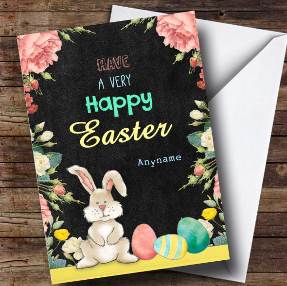 Personalised Bunny Black Floral Easter Card