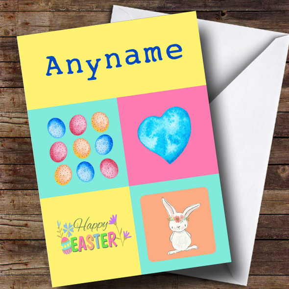 Personalised Colourful Squares Easter Card