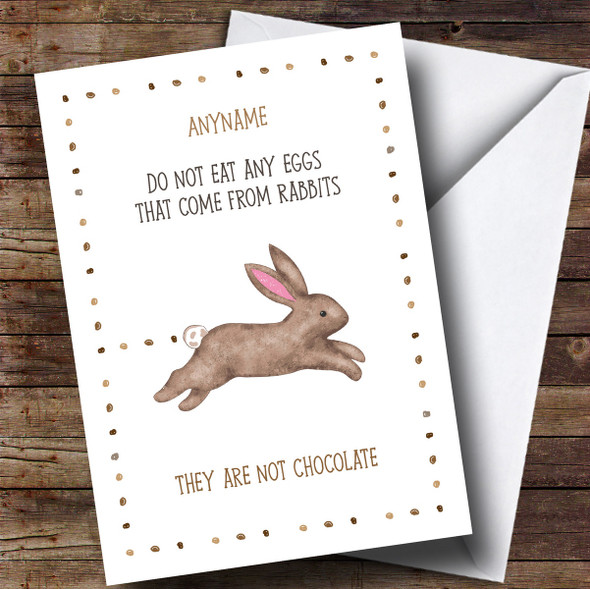 Personalised Funny Rabbit Poo Easter Card