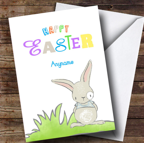 Personalised Colourful Bunny Easter Card