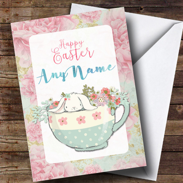 Personalised Bunny In A Cup Easter Card