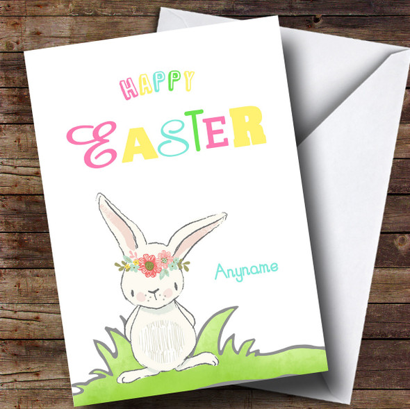 Personalised Colour Rabbit Easter Card