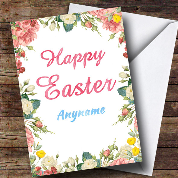 Personalised Floral Border Easter Card