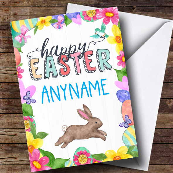 Personalised Spring Rabbit Easter Card