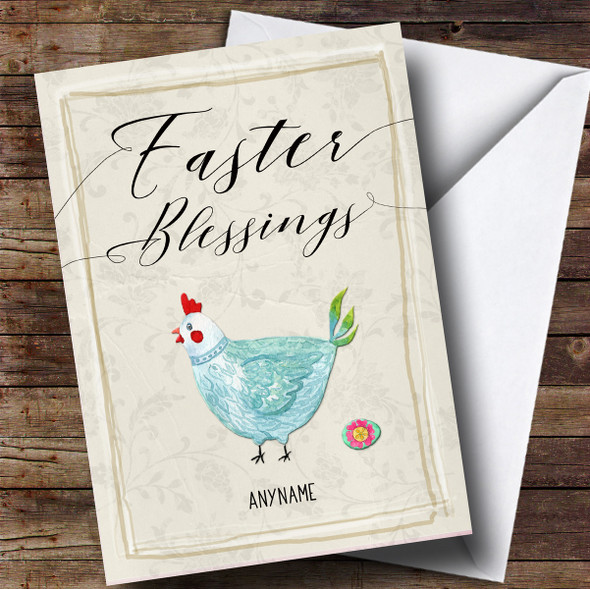 Personalised Blue Chicken Easter Card