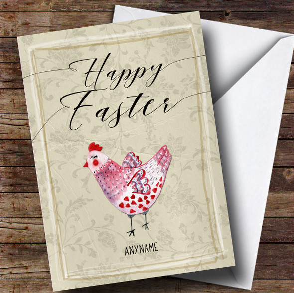 Personalised Pink Chicken Easter Card