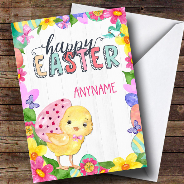 Personalised Spring Chick Easter Card