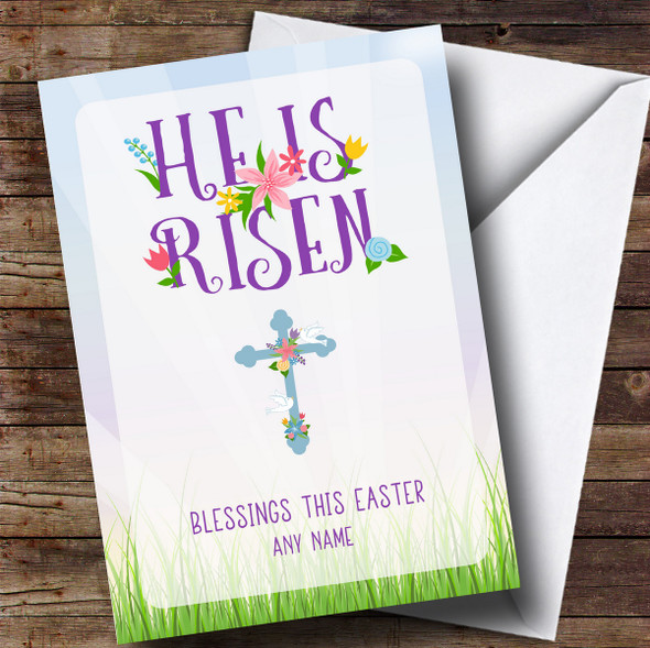 Personalised He Is Risen Easter Card
