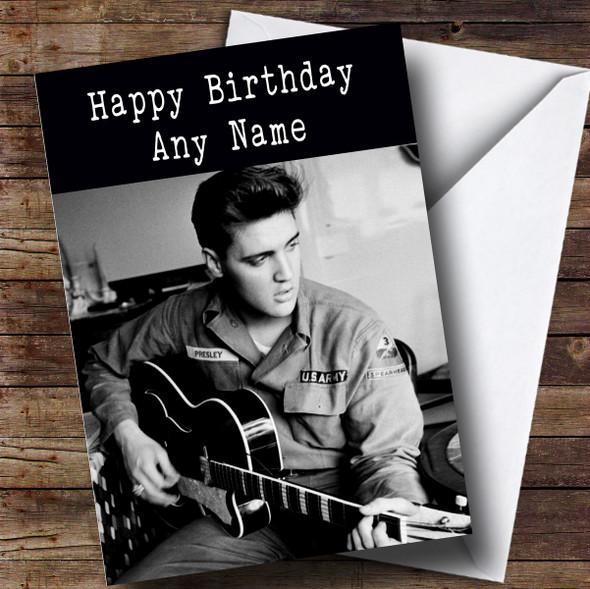 Personalised Elvis Presley Black & White Celebrity Birthday Card