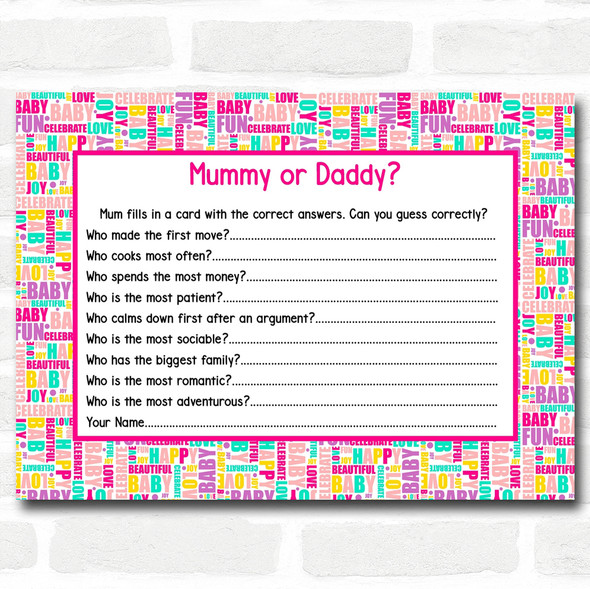 Fun Words Baby Shower Games Guess Who Game Cards