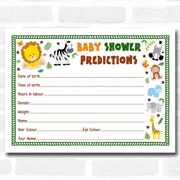 Jungle Baby Shower Games Predictions Cards