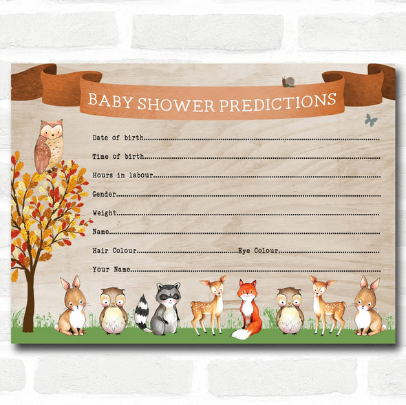 Woodland Animal Neutral Baby Shower Games Predictions Cards