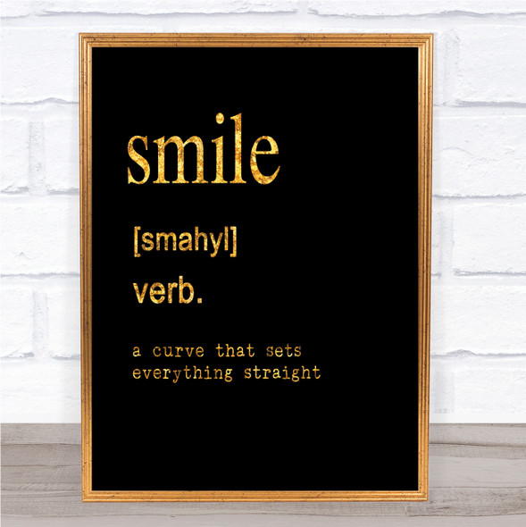 Word Definition Smile Quote Print Black & Gold Wall Art Picture