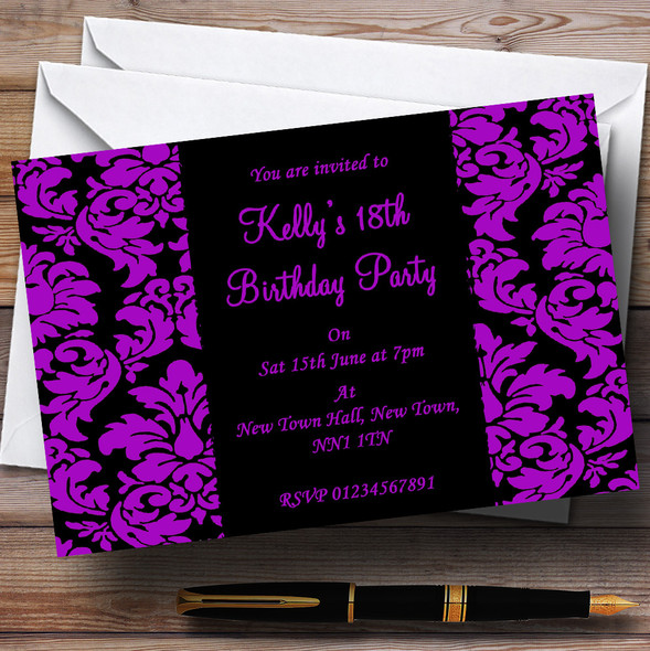Floral Black & Purple Damask Personalised Party Invitations