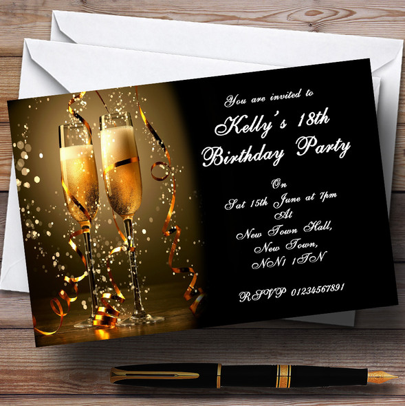 Black Champagne Personalised Party Invitations