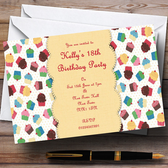 Cute Cupcakes Vintage Tea Personalised Party Invitations