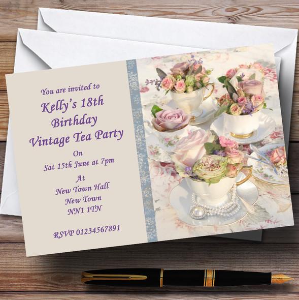 Floral Teacups Pretty Vintage Tea Personalised Party Invitations