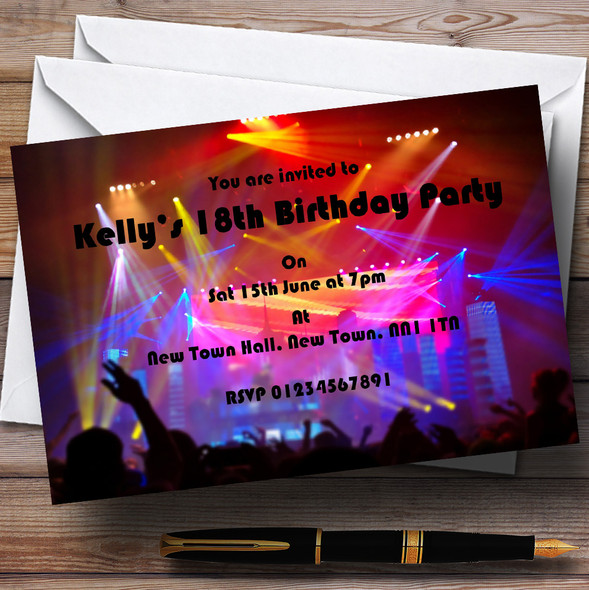 Disco Laser Lights Personalised Party Invitations