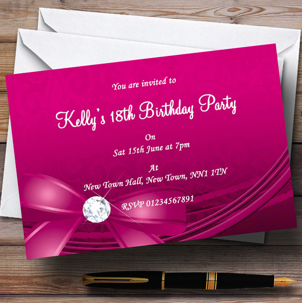 Pink Bow And Diamond Personalised Party Invitations