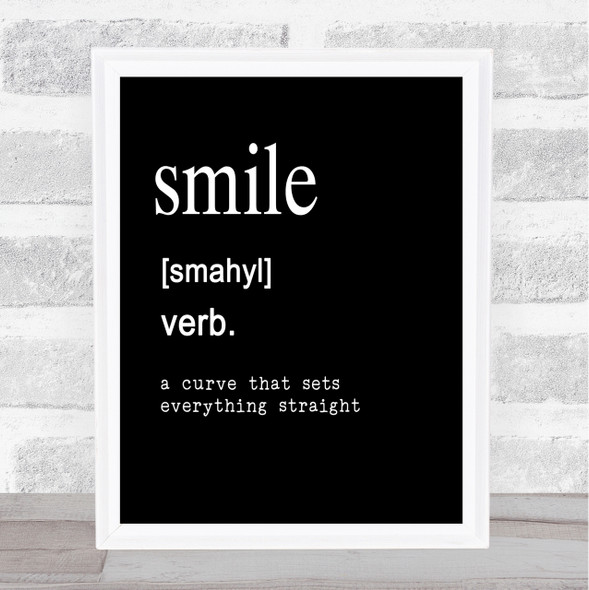 Word Definition Smile Quote Print Black & White