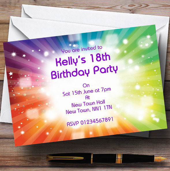 Rainbow Colours And Stars Personalised Party Invitations