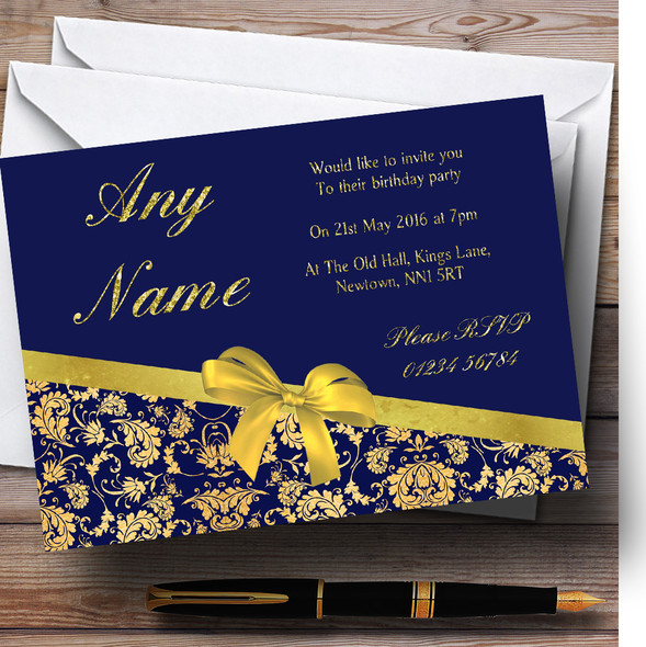 Classic Blue And Gold Damask Birthday Party Personalised Invitations