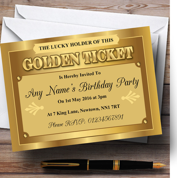 Golden Ticket Personalised Birthday Party Invitations